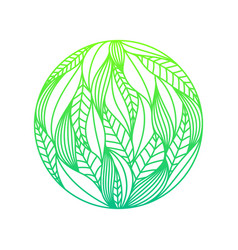 Round composition made of green gradient linear vector