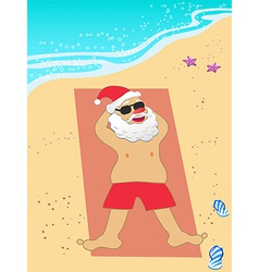 Santa Claus vacation on the beach vector image
