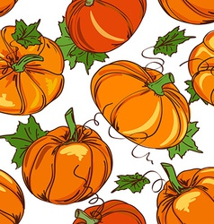 Seamless pattern pumpkins vector