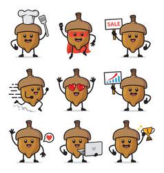 Set acorn character design vector