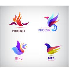 set bird logos icons vector image