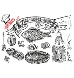 set design for cooking - fish and seafood on a vector image