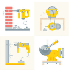 set electric power tools banners vector image