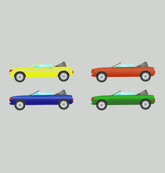 Set of cars convertible in different colors vector