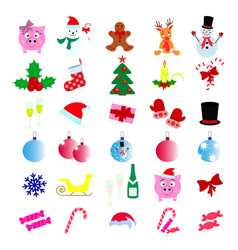 set of merry christmas 30 icons happy new year vector image