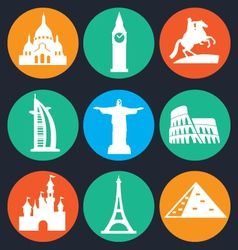 Set of monuments icon - 1 vector