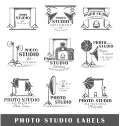 Set of vintage photo studio labels vector
