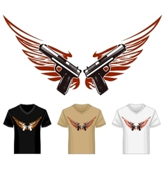 Shirt Template with Guns and Wings vector image