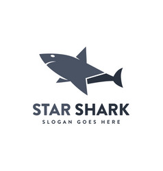 simple shark star logo icon on white background vector image