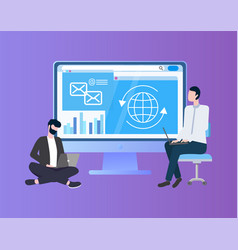 sitting workers with laptop near monitor vector image