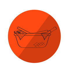 Sketch of a picnic basket on a label vector