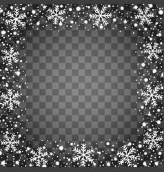 Snow border frame christmas texture isolated on vector