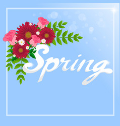 Spring word and flowers vector