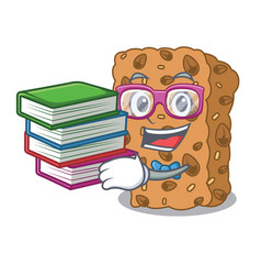 Student with book granola bar mascot cartoon vector
