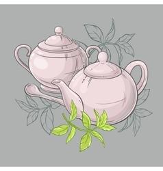 Teapot and sugar bowl vector