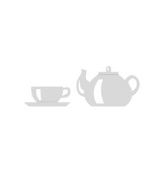 Teapot with cup icon vector