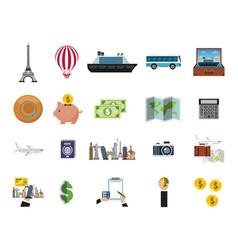 travel around world set icons vector image