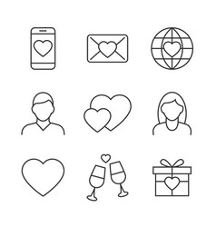 valentines day linear icons on white background vector image