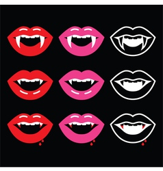 Vampire mouth vampire teeth icons on black vector image