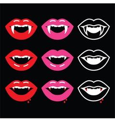 Vampire mouth vampire teeth icons on black vector
