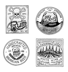 Vintage american rum wine whiskey beer badge vector