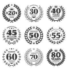 vintage monochrome anniversary labels set vector image
