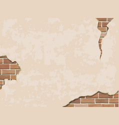 Weathered wall background with brick vector