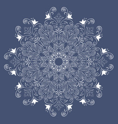 white lace on a blue background white mandala vector image vector image