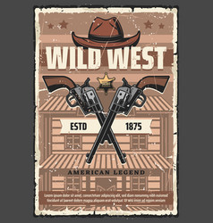 wild west saloon revolvers and cowboy hat vector image