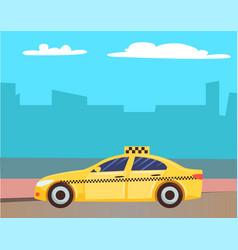 yellow cab service taxi car at street city vector image