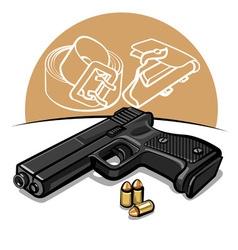 automatic handgun vector image