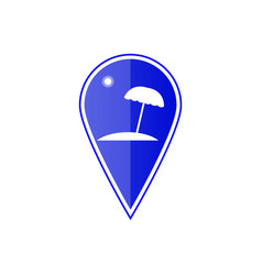blue map pointer with beach vector image vector image