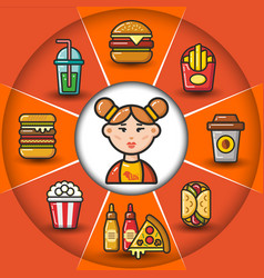 infographic set of fast food icons and woman vector image vector image