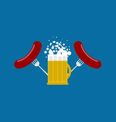 mug beer and sausage logo for oktoberfest holiday vector image