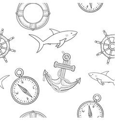 nautical elements seamless pattern hand drawn vector image