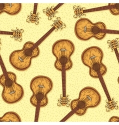 Seamless Pattern with Wooden Acoustic Guitar vector image