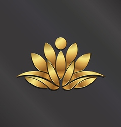 VIP Gold Lotus flower vector image