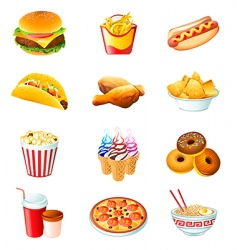 fast food icons vector image vector image