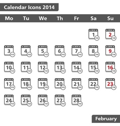 February 2014 Calendar Icons vector image