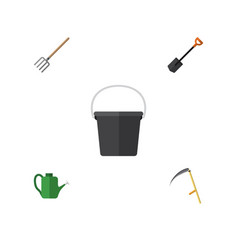 Flat icon farm set of spade cutter hay fork and vector