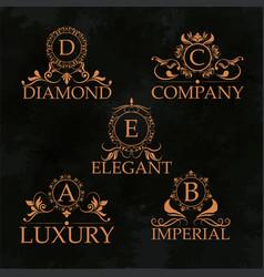 luxury emblem monogram elegant golden calligraphic vector image