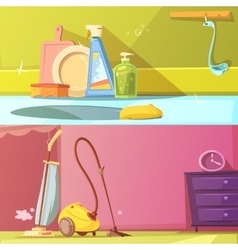 Cleaning Banners Set vector image vector image