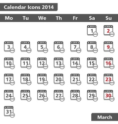 March 2014 Calendar Icons vector image vector image