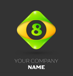 Number eight symbol in colorful rhombus vector