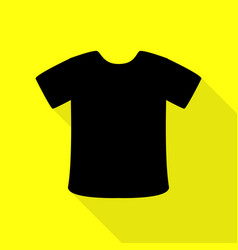 t-shirt sign black icon with flat style shadow vector image