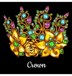 Precious crown with jewels and floral ornament vector image