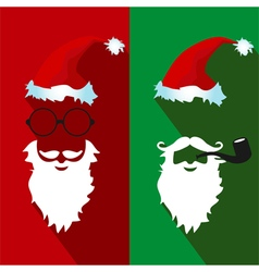 Santa claus face flat icons with long shadow vector image