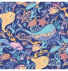 Sea pattern with whale vector image vector image