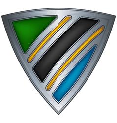 steel shield with flag tanzania vector image vector image