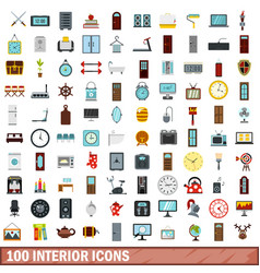 100 interior icons set flat style vector